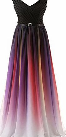 Clearbridal Womens Formal Chiffon Prom Dress Gradient Color Bandage Maxi Dress Bridesmaid Gown SD341 UK10