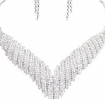 Clearbridal Womens Rhinestones Necklace Earrings Sets Bridal Jewelry for Wedding Prom and Evening Party 15057