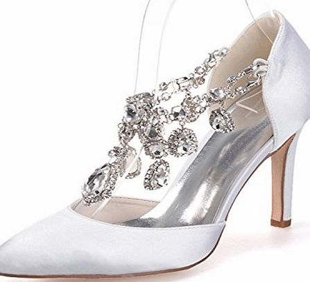 Clearbridal Womens Satin Wedding Bridal Shoes Pointed Toe High Heels for Evening Prom Party with Rhinestone Crystal ZXF0608-22 White UK7