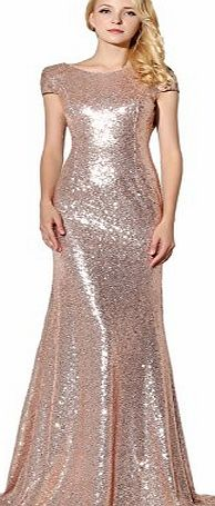 Clearbridal Womens Sequines Prom Evening Dress Formal Long Maxi Ball Gown Bridesmaid Dress Rose Gold UK8