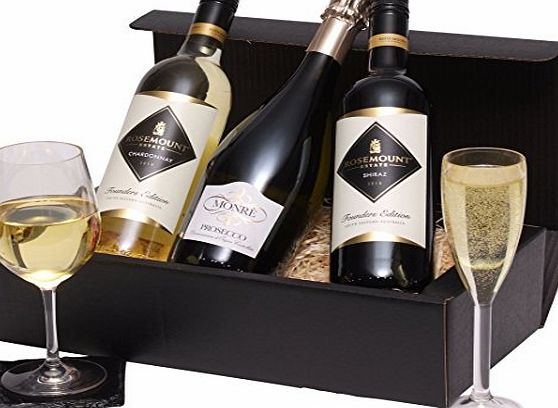 Clearwater Hampers The Mixed Trio Wine Gift - Red, White amp; Prosecco Wines - Three Bottle Wine Selection