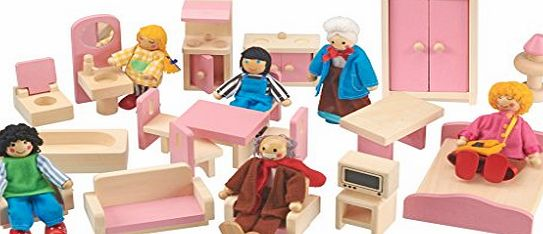 Clifford James Hand Crafted Wooden Dolls House Furniture 20 Piece Set.