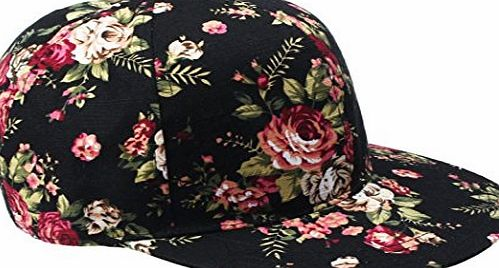 Clode® 1PC Korean Womens Girls Summer Floral Hip-Hop Hat Flat Adjustable Baseball Cap (Black)