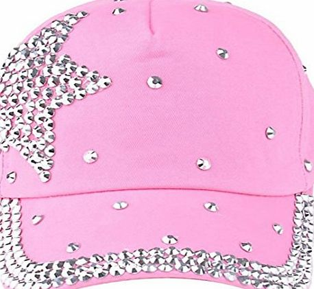 Clode® New Fashion Baby Boy Girls Baseball Cap Five-pointed star Rhinestone Shaped Snapback Hat Children Cap (Pink)