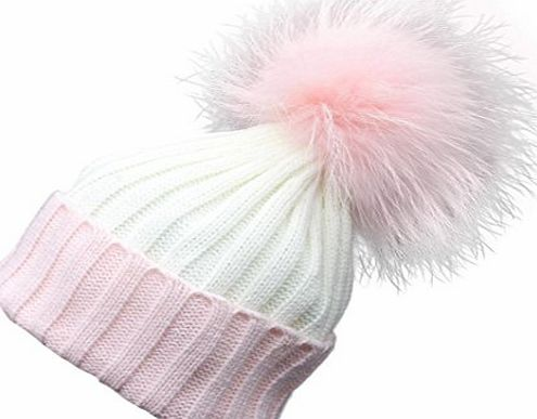 Clode® Womens Beanie,Clode® Women Lady Girls New Fashion Design Hat Winter Crochet Hat Fur Wool Knit Beanie Farmed Raccoon Warm Cap Pom Pom (Pink)