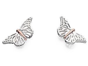 Silver And 9ct Rose Gold Butterfly Silver