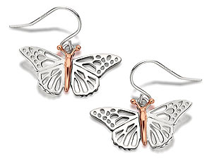 Silver And 9ct Rose Gold Butterfly Wing