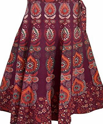 ClothesnCraft Designer Indian Wrap Around Cotton Skirt for Girls (Maroon)