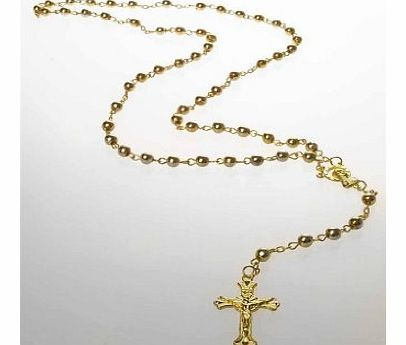Fluorescent Cross Necklace Rosary Crucifix Neon Necklaces Jewellery (Metal - Gold)