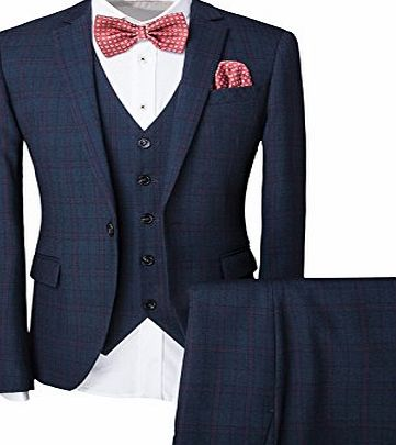 Cloud Style Mens One-Button Designer Luxurious Suits Plaid Tuxedos 3-Piece Set Wedding Prom Party