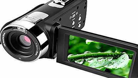 Cocare 301 FHD Touch Screen Digital Camera 1080P DV Camcorder 16X Zoom Video Recorder Night Vision Webcam Support 270° Rotation/SD Card,3-Inch,Black