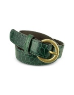 Womenand#39;s Green Croco Stamped Italian Leather Belt
