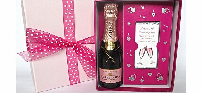 Moët & Chandon Rosé Impérial NV Champagne 20cl & 2 Personalised Chocolate Bars Gift Box (Spring Fever)