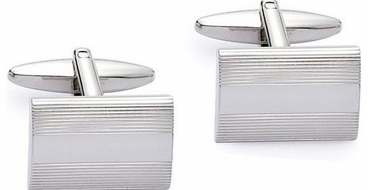 Base Metal Rhodium Plated Low-Dome Rectangular Cufflink