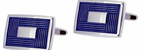 Base Metal Rhodium Plated Rectangular Cufflinks with Blue Enamel Border Design