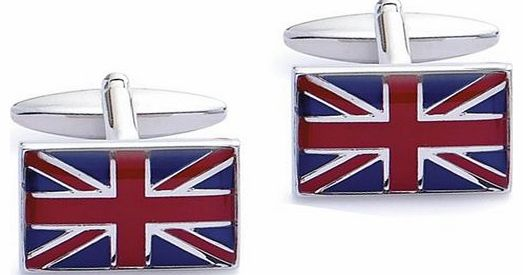 Base Metal Rhodium Plated Uk Flag Cufflink