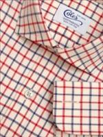 Mens Cutaway Collar Blue Red Tattersall Check