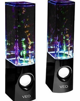 USB Dancing Water Speakers Complete with Pro Braided Auxiliary cable - for PC, Mac, MP3 Players, Mobile Phones inc. iPhone , Galaxy s4 s3 & Tablets, ipad, ipod. Colour Jet black