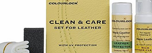 COLOURLOCK Leather Clean amp; Care Kit - 125ml Mild Leather Cleaner amp; 150ml Leather Protector for cleaning amp; protection of car interiors, leather furniture suite, sofa,settee, jackets, handba