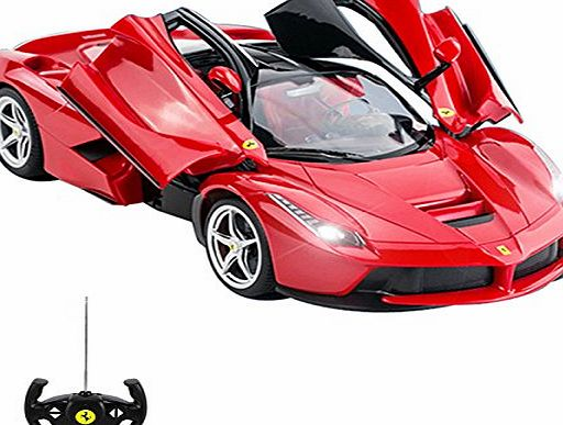Comtechlogic Official Licensed CM-2143 1:14 Ferrari LaFerrari Radio Controlled RC Electric Car with opening doors - Ready to Run EP RTR (RED)