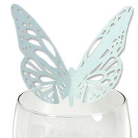 Aqua pearl laser cut butterfly glass place card pk 10