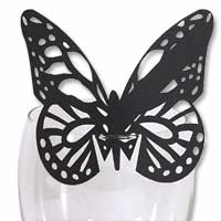 Black laser cut glass butterfly place cards pk 10