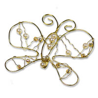 Gold wire butterfly with pearl beads pk of 6