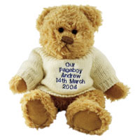 Confetti message teddy with blue embroidery