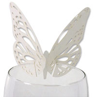 Pearl butterfly laser cut glass place card pk of 10