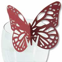 Red laser cut glass butterfly place card pk of 10