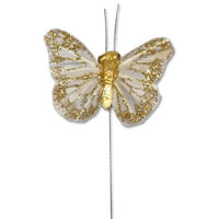 small ivory/gold glitter butterfly pack of 24