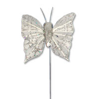 Small silver glitter butterfly pk of 24