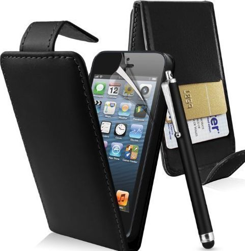 Connect Zone TM New Apple iPod Touch 5th Generation Flip Case Cover Stand & Stylus Pen Black