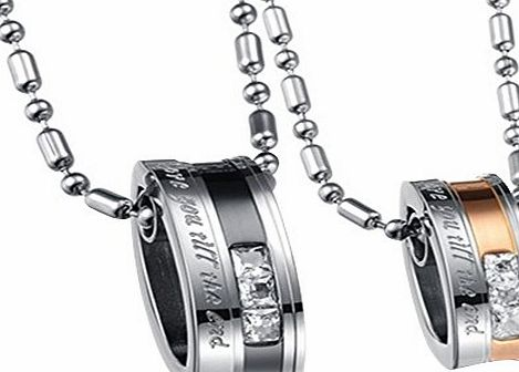 Contever 1 set of 2pcs Lovers Mens Womens Love You Till Be The End Stainless Steel Pendant Love Necklace Set, Couples Valentines Gift with 1 pcs Free Black Velvet Bag, Chain Length :55 cm