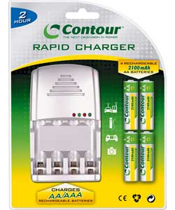 Contour 2 Hour Rapid Battery Charger with 4 x AA