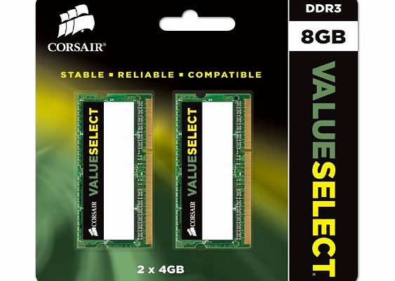 Corsair CMSO8GX3M2A1600C11 Value Select 8GB (2x4GB) DDR3 1600 Mhz CL11 Mainstream Notebook Memory Kit