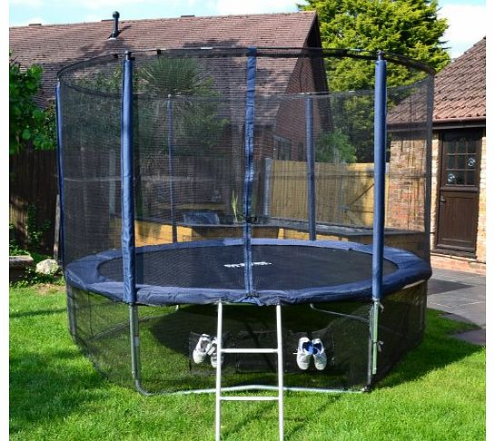 Cortez Premier 12ft Trampoline with Enclosure and Ladder (Blue Deluxe Oxford Fabric with Full Accessory Kit)