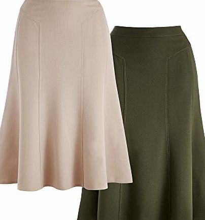 Cotton Traders Womens Ladies Beige Moss Pack of 2 Skirts 24