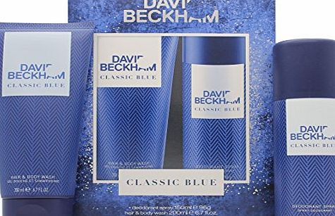 Coty DAVID BECKHAM CLASSIC BLUE 150ML DEODORANT SPRAY amp; 200ML HAIR amp; BODY WASH GIFT SET / COFFRET