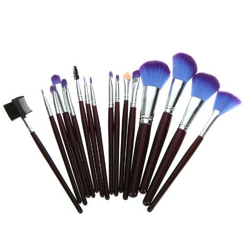 16pcs Professional Make Up Brushes Eyeshadow Eyebrow Eyelash Eyeliner Lip Powder Blush Face Brush Powder Foundation Tool Wooden Handle +Leather Case Case Pouch Bag Pink (16Pcs Purple)