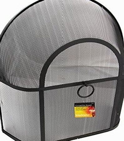Crannog Heavy Duty Curved Large Black Safety Fire Spark Guard Fireplace Cover Mesh Metal Screen Protection