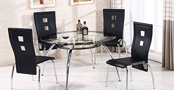 CRAVOG  Round Glass Dining Table Set  4 Black Faux Leather Modern Dining Chairs UK Stock (5PC ROUND DINING SET)