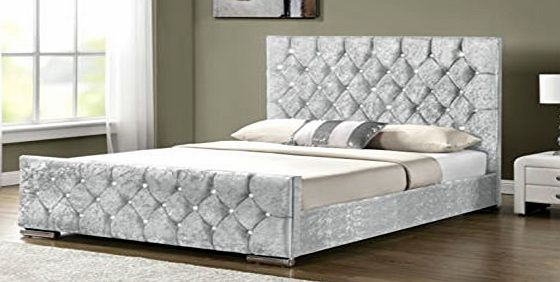 CRAVOG Diamante Upholstered Fabric Bed Frame Velvet Chenille Double King Size (Double 4FT6, Silver Velvet)