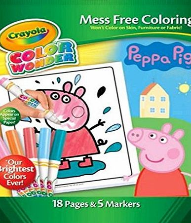 Crayola Peppa Pig Colour Wonder Set Mess Free Colouring by Crayola - 18 Pages amp; 5 Markers