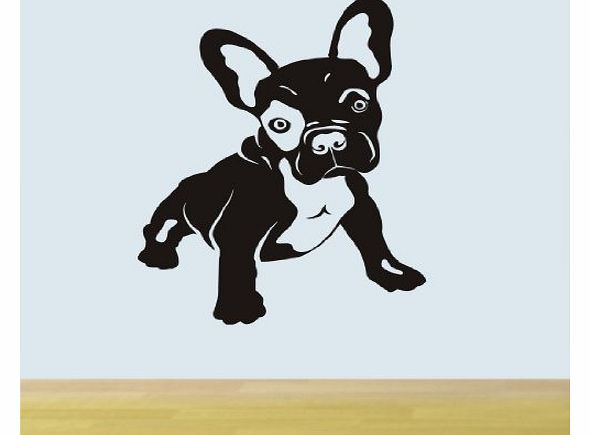 French Bull Dog wall art sticker H530K MEDIUM / WINE RED