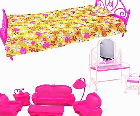 Creation  3 Sets Toy Doll house Furniture- Small Sofa, Plastic Mini Bed, Dressing Table And Chair Set For Dolls Bedroom Furniture