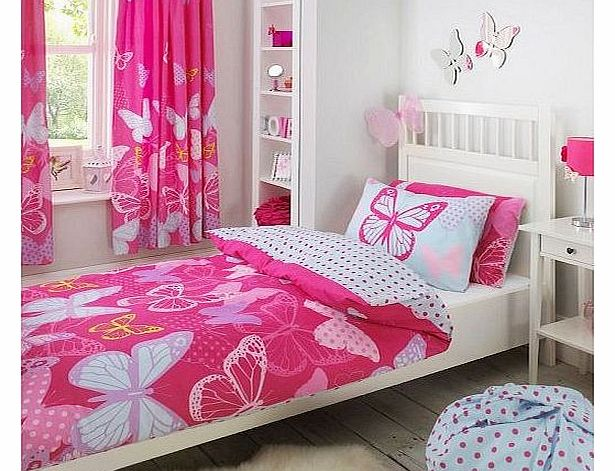 Butterfly Pink Lilac Blue Polka Dot Single Duvet Quilt Cover Bedding EXCLUSIVE