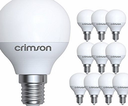 CRIMSON Golf Light Bulbs LED E14 5W Small Screw G45 Warm White 450 lm 3000K Replaces 40-60 W Incandescent Light Bulbs Pack of 10