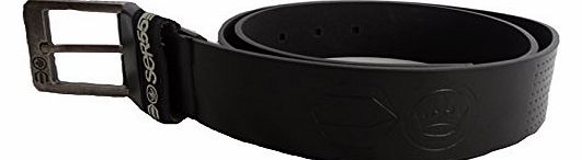 Designer Mens Faux Leather Embossed Branded Metal Buckle Belts Belt (SMALL (30-32``), BLACK)