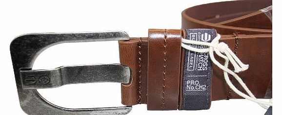 Designer Mens Faux Leather Embossed Branded Metal Buckle Belts
